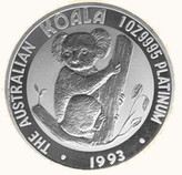 Koala platin 999 Münze Foto